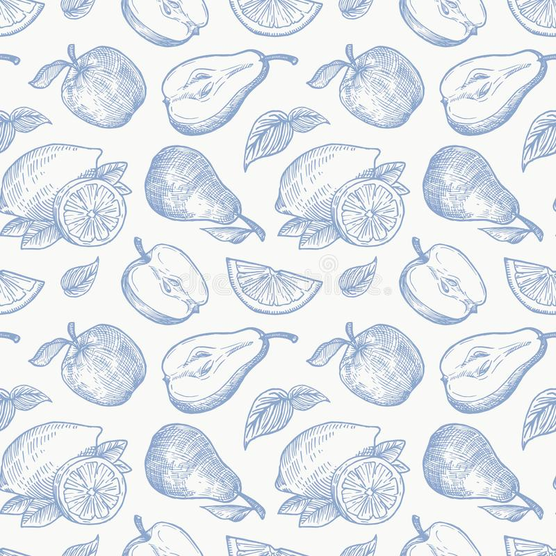 Hand Drawn Apples Pears and Lemons Harvest Vector Seamless Background Pattern. Fruits and Leaves Sketches Card or Cover royalty free illustration