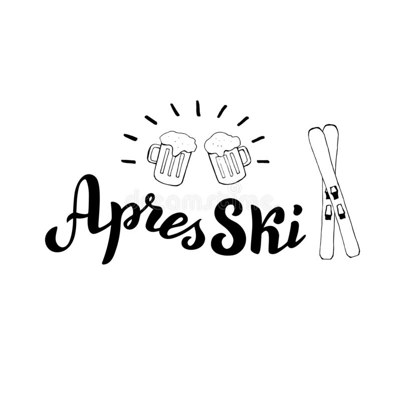 Hand drawn apres ski logo with beers and ski. Mountain resort banner. vector illustration