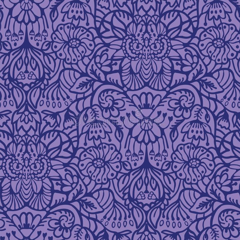 Hand drawn arabesque floral ornament damask illustration. Seamless vector purple. Lilac pattern. Baroque roccoco style all over print. Intricate decorative line vector illustration