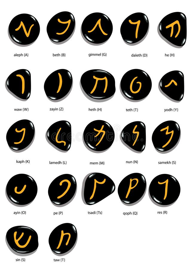 Hand drawn aramaic alphabet written in stone, white background. Hand drawn aramaic alphabet written in stone , font set, isolated on white background, vector royalty free illustration
