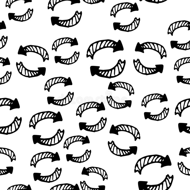 Hand Drawn arrow doodle. Sketch style icon. Decoration element. Isolated on white background. Flat design. Vector illustration. Seamless pattern Hand Drawn arrow stock illustration