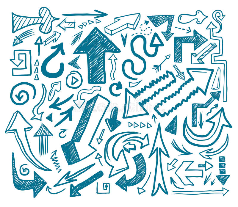 Download Hand drawn arrow doodles stock vector. Illustration of right - 12148753