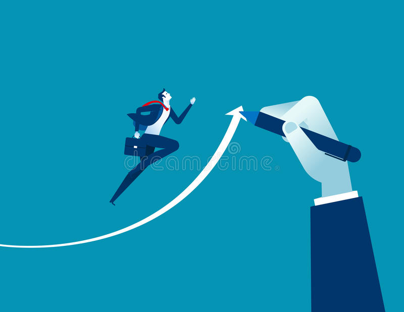 Hand drawn arrow, Helps businessman executives to success. Concept business success illustration. Vector cartoon character and ab. Stract vector illustration