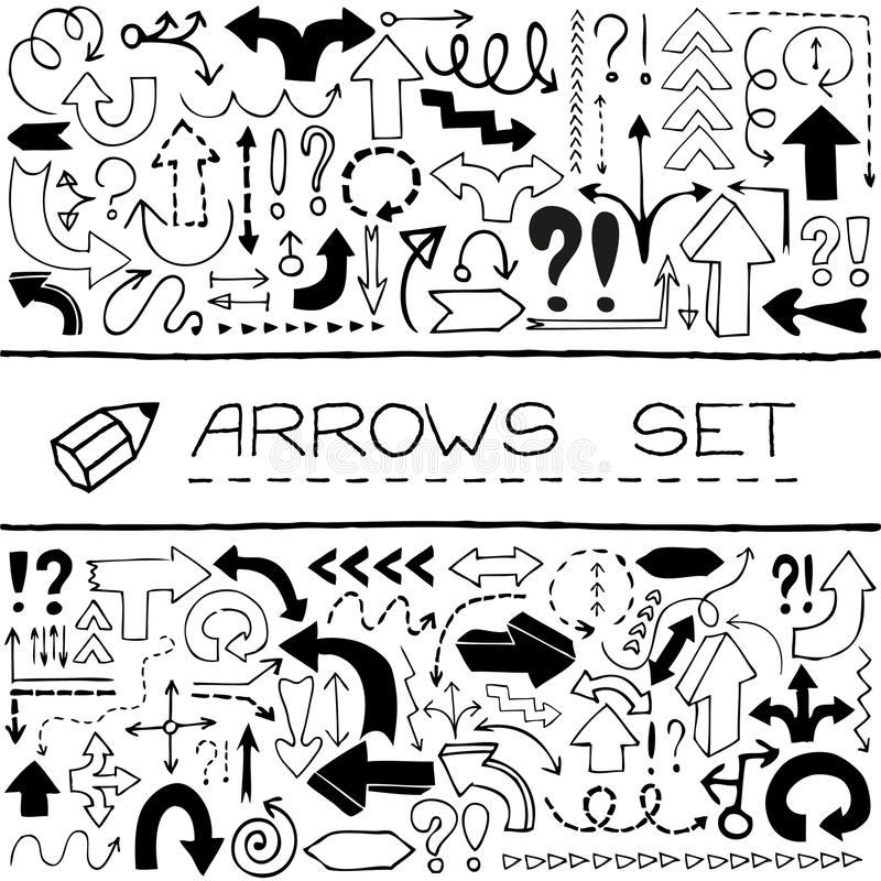 Hand drawn arrow icons with question and vector illustration