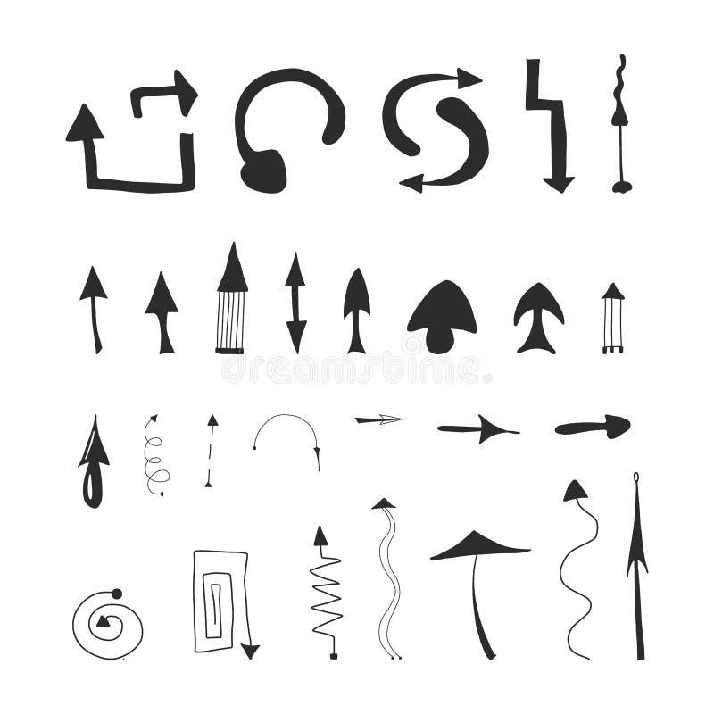 Hand drawn arrow set, collection of black direction pencil sketch symbols, vector illustration graphic design elements stock illustration