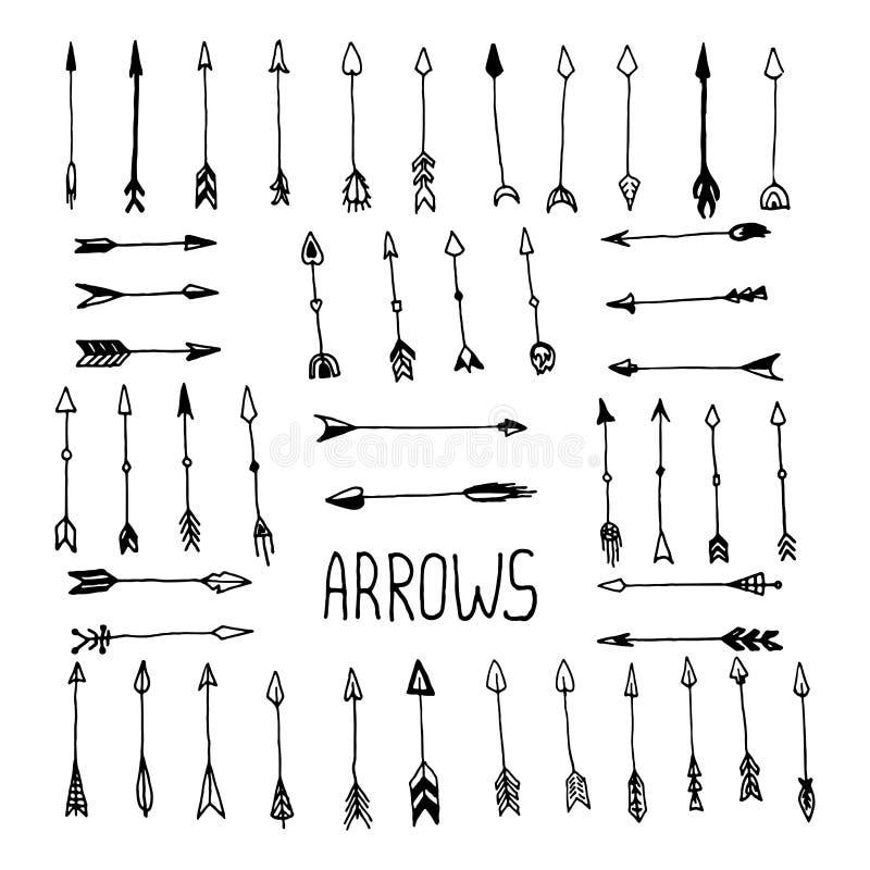 Hand drawn arrow set royalty free stock image