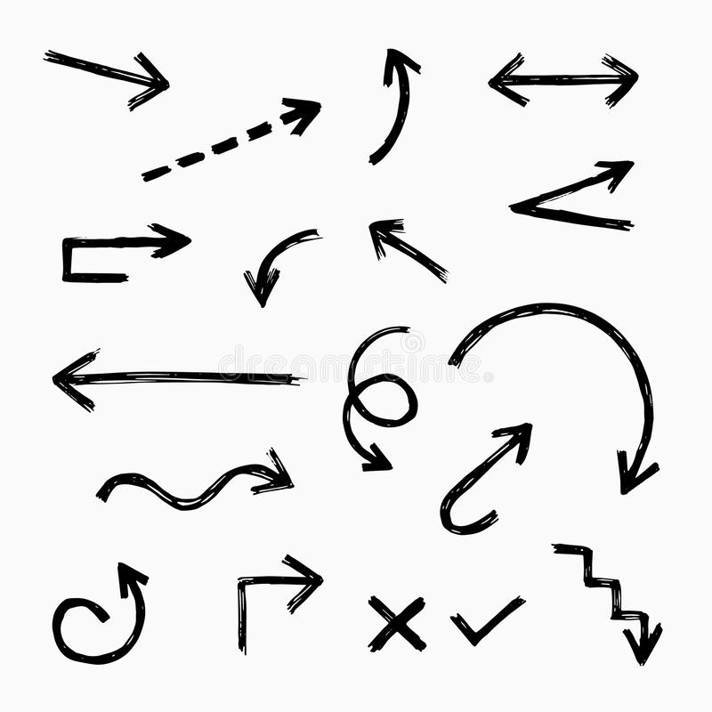 Hand drawn arrow set vector illustration