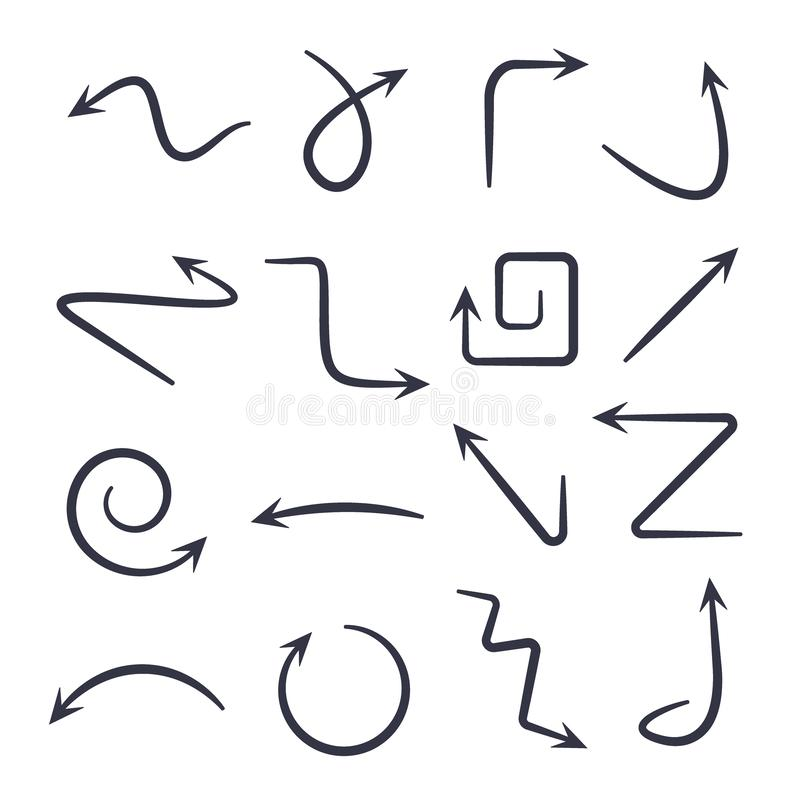 Hand drawn arrows. Vector hand drawn arrows set isolated on white. stock illustration