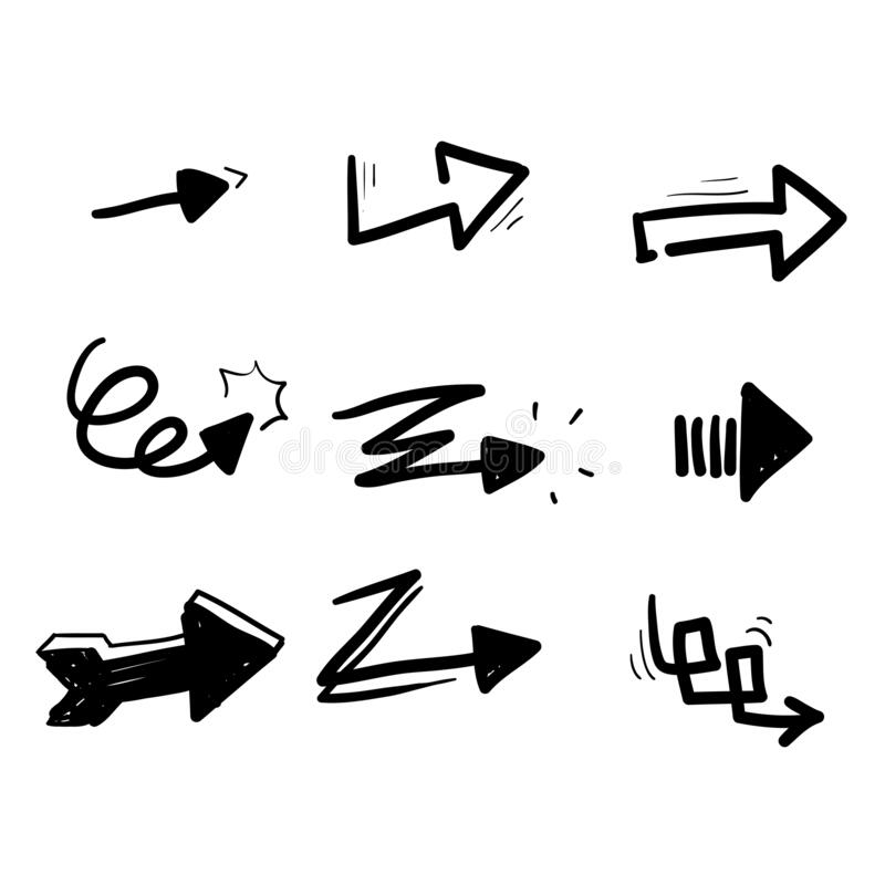 Free Hand Drawn Arrows Vector With Isolated On White Background. Collections For Web Design, Interface And More. Doodle Stock Photo - 192639550