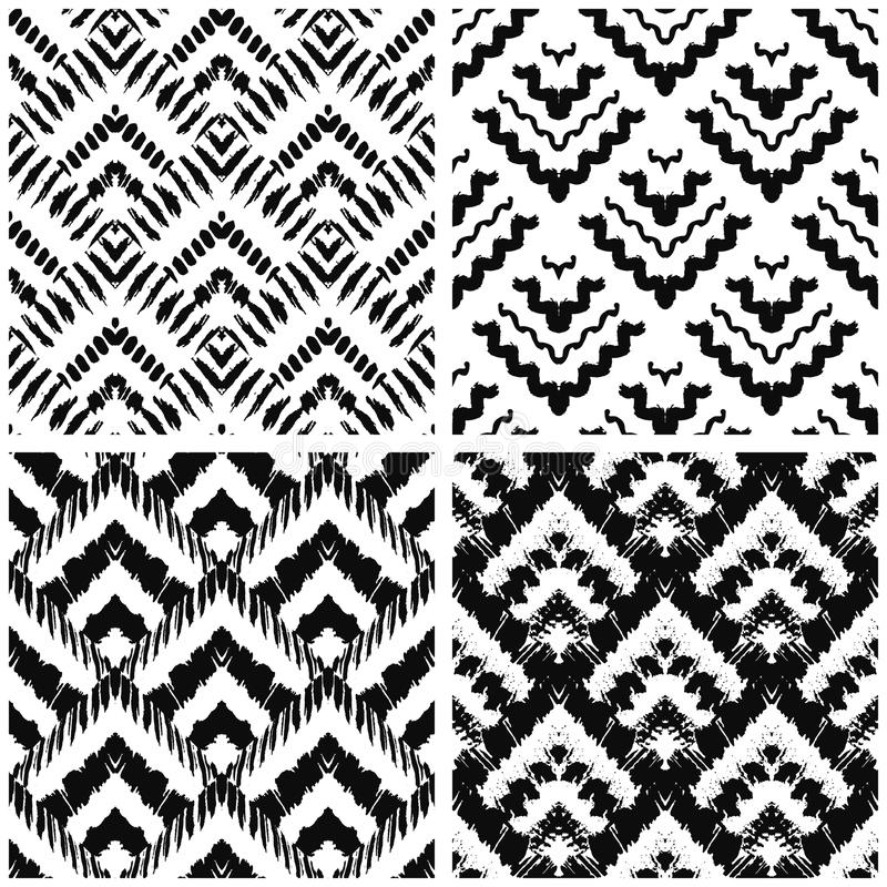 Hand drawn art deco painted seamless pattern. Vector illustration for tribal design. Ethnic motif. For invitation, web, textile, wallpaper, wrapping paper royalty free illustration