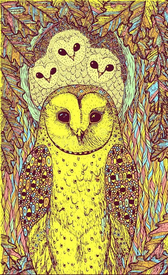 Hand drawn art with owls on the oak tree. Realistic psychedelic colorful graphic artwork. Vector illustration stock illustration