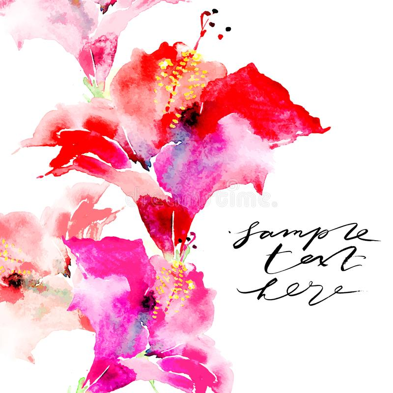 Hand drawn artistic background with copy space. Botanical motif by hand. Watercolor hibiscus flowers for backgrounds vector illustration