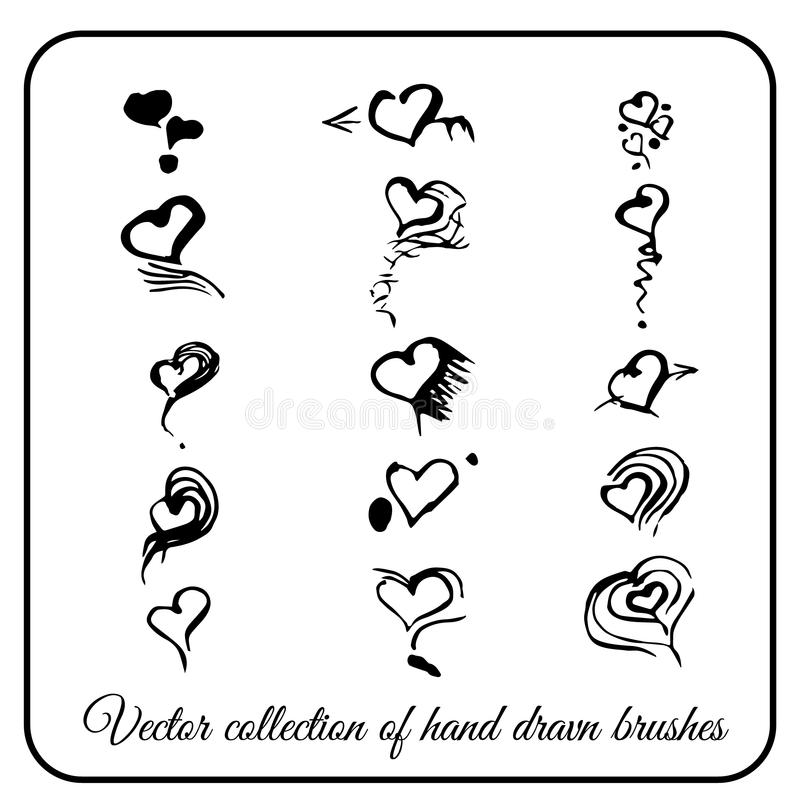 Hand-drawn artistic heart made a set of black ink brush for your design royalty free illustration