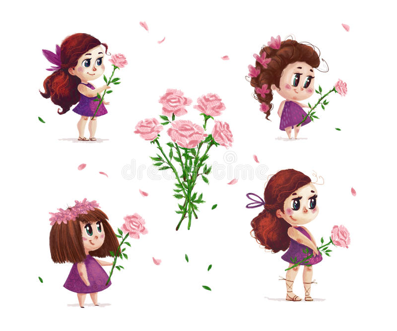 Hand drawn artistic portrait of little cute girl with roses bouquet standing set isolated on white background. Peaceful harmony cute child illustration royalty free illustration