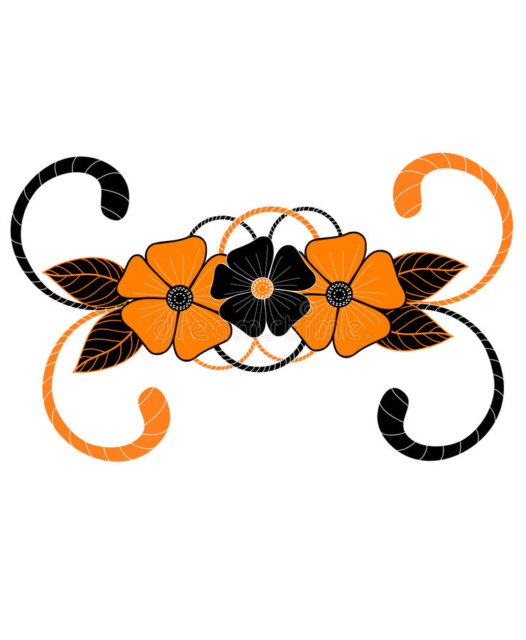 Hand-drawn Artistic Tiger Flower Royalty Free Stock Images