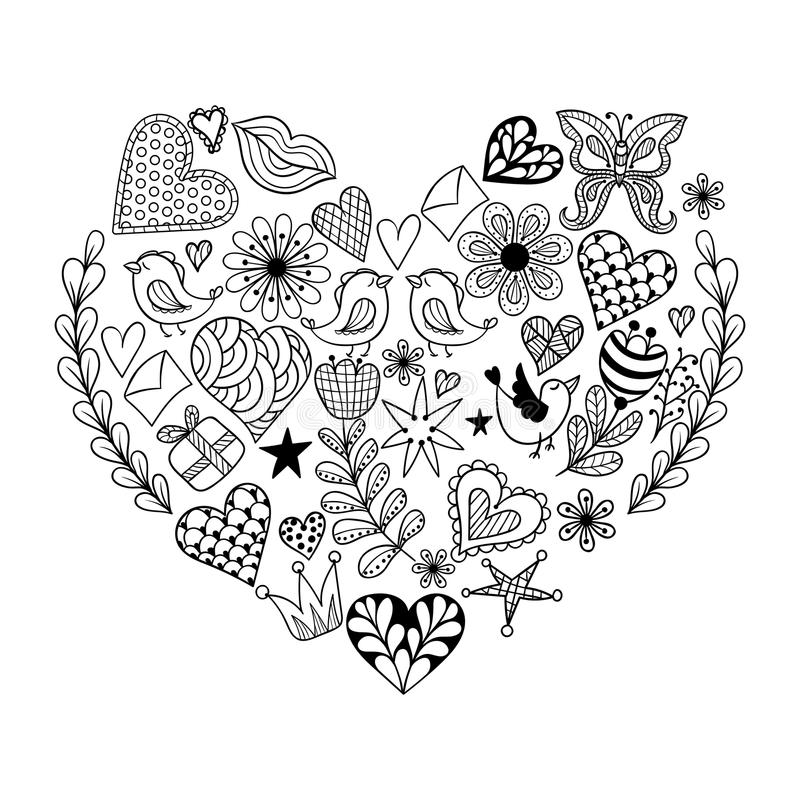 Hand Drawn Artistically Ethnic Ornamental Patterned Heart With Romantic Doodle Elements Of St Valentines Day Zentangle Vector Illustration For Adult