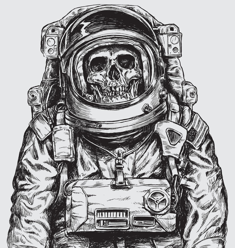 Hand drawn Astronaut Skull royalty free illustration