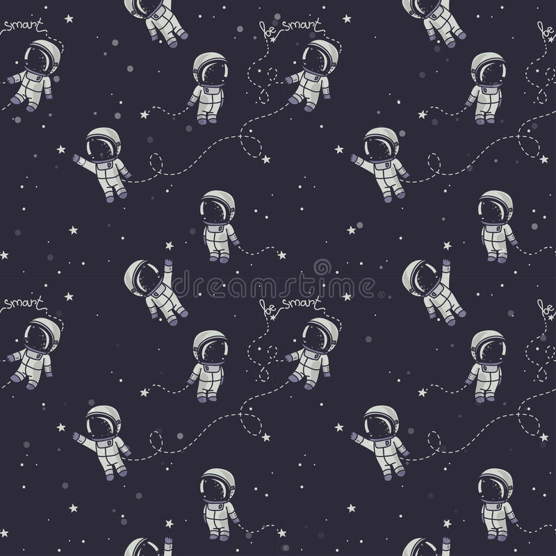 Hand drawn astronauts with constellations and planets in spaсe royalty free illustration