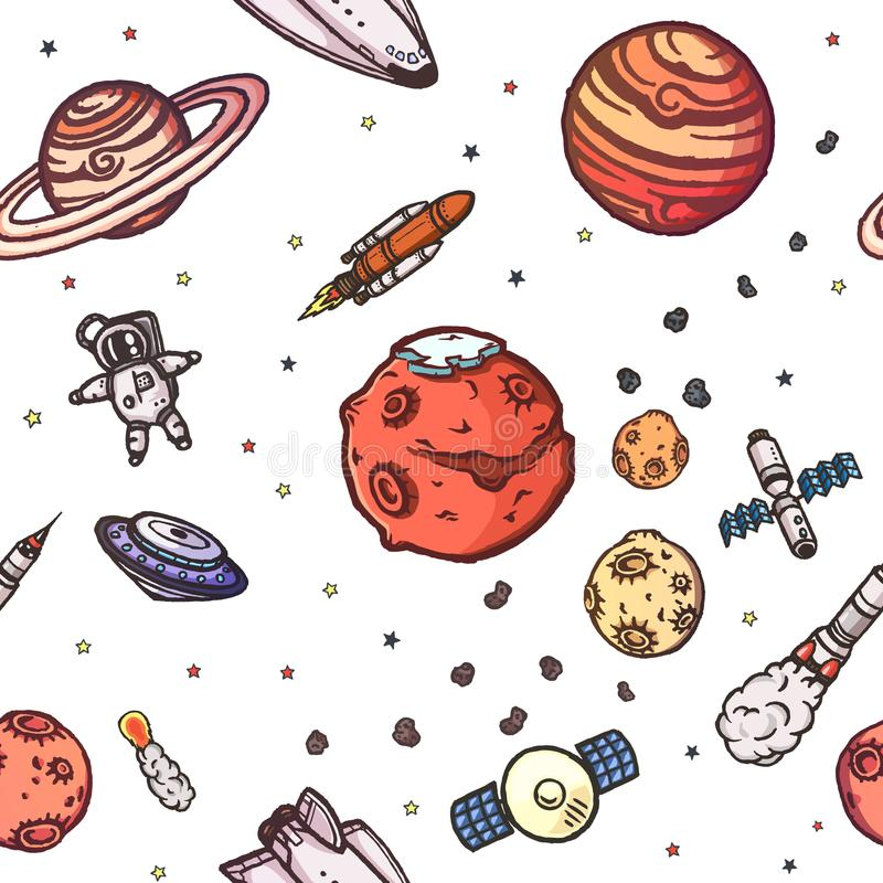 Hand drawn astronomy doodle seamless pattern. Astronomy doodle seamless pattern. Hand drawn vector illustration vector illustration