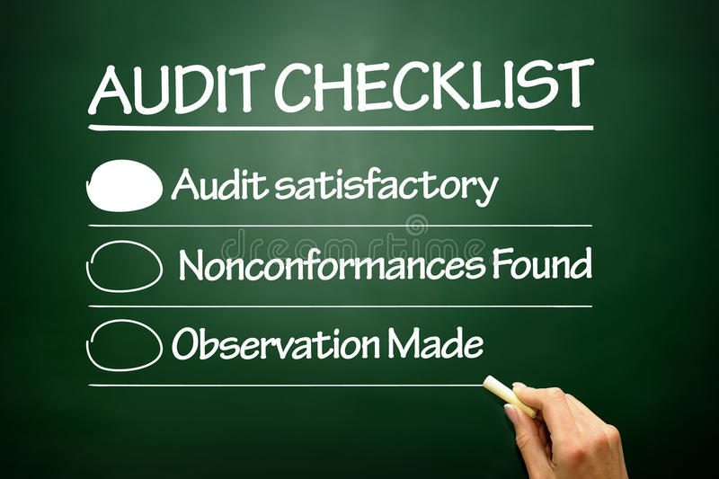Hand drawn Audit checklist, business concept on blackboard royalty free stock photos