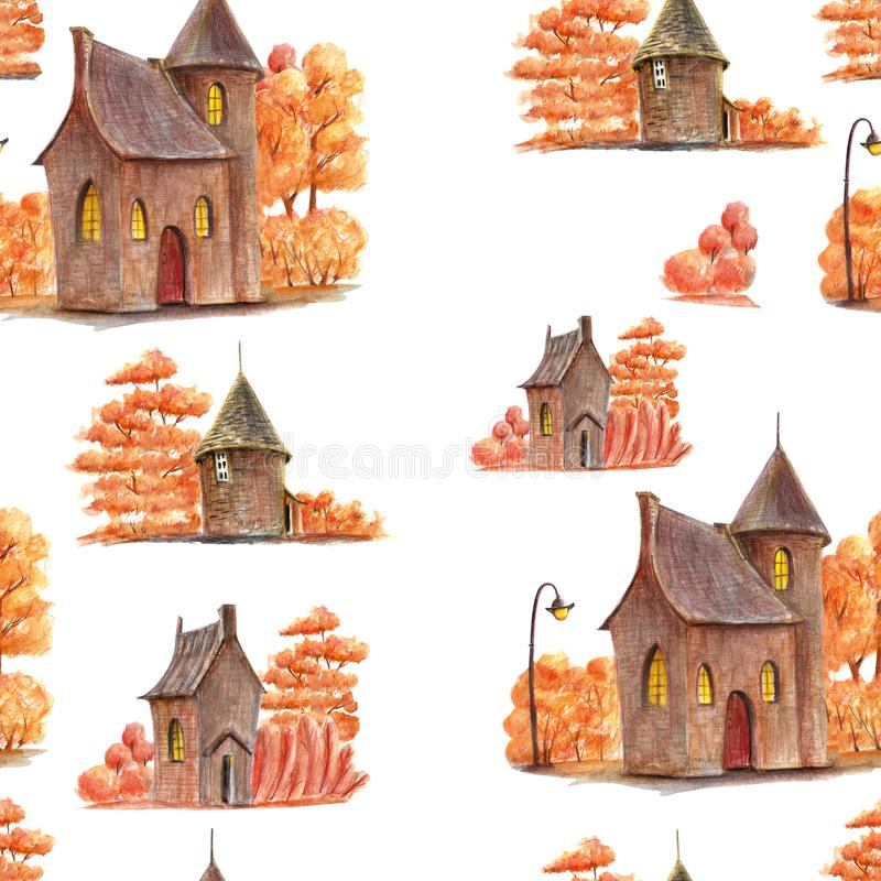 A cute autumn pattern with hand drawn elements vector illustration