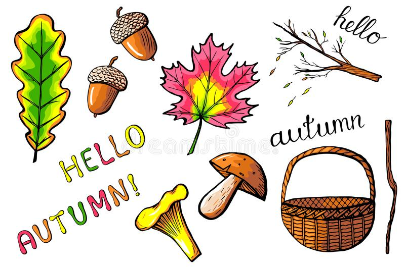 Hand drawn autumn icons isolated vector illustration