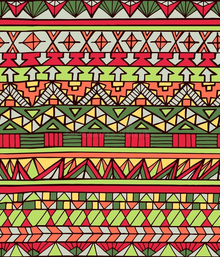 Hand drawn aztec geometric seamless pattern in red colors. Hand drawn ethnic geometric colorful seamless pattern. Aztec style pattern with triangle, arrow and royalty free illustration