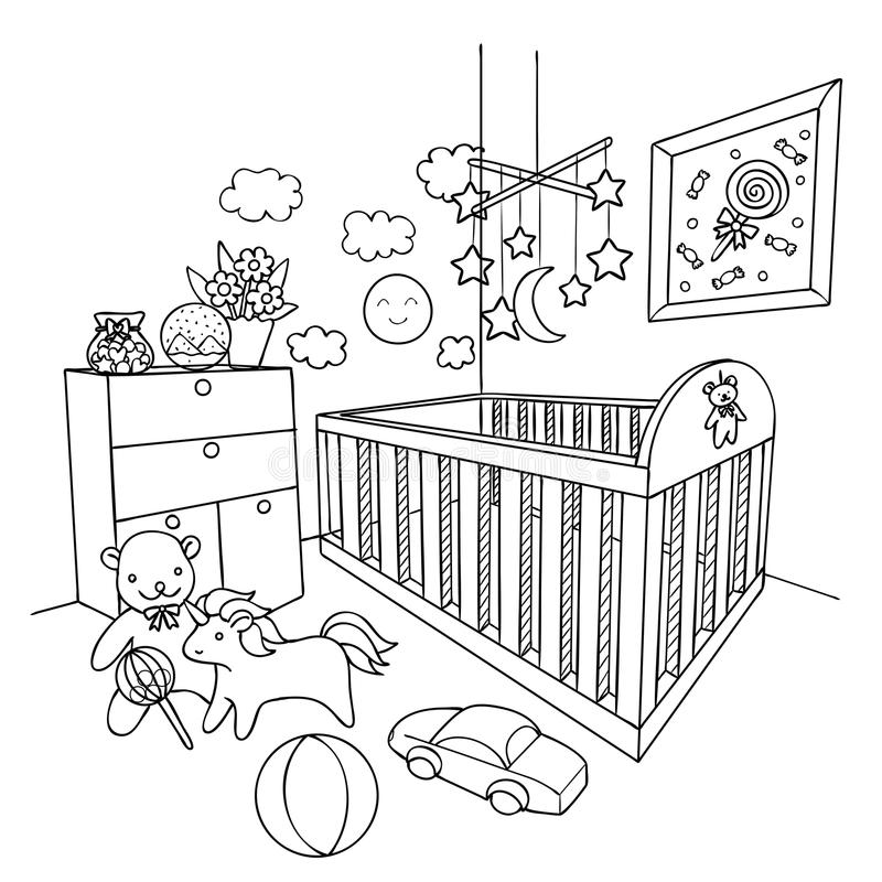 Hand drawn baby room for design element and coloring book page. Vector illustration royalty free illustration