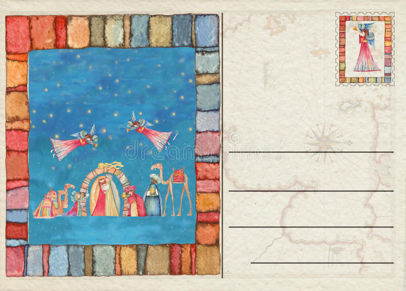 Hand drawn back Christmas postcard. Hand drawn back postcard decorated royalty free illustration