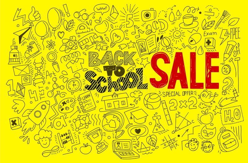 Hand-drawn back to school red Sale royalty free illustration