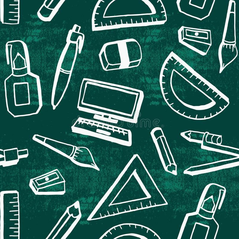Hand drawn back to school theme background with creative student lifestyle objects. stock illustration