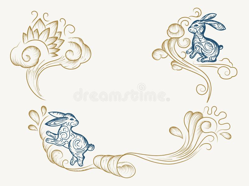 Sketch background for chinese mid autumn festival. Hand drawn background for chinese mid autumn festival. Sketch of holiday bunny or rabbit on wavy clouds for royalty free illustration