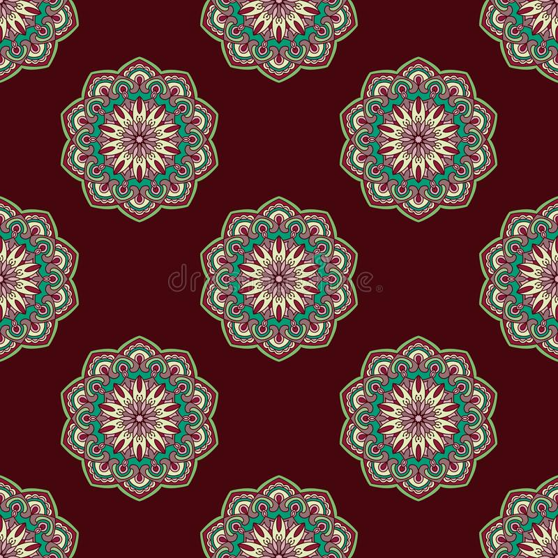 Hand drawn background with decorative elements in brown, blue and beige colors vector illustration