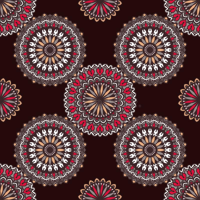 Hand drawn background with decorative elements in brown, red and beige colors royalty free illustration