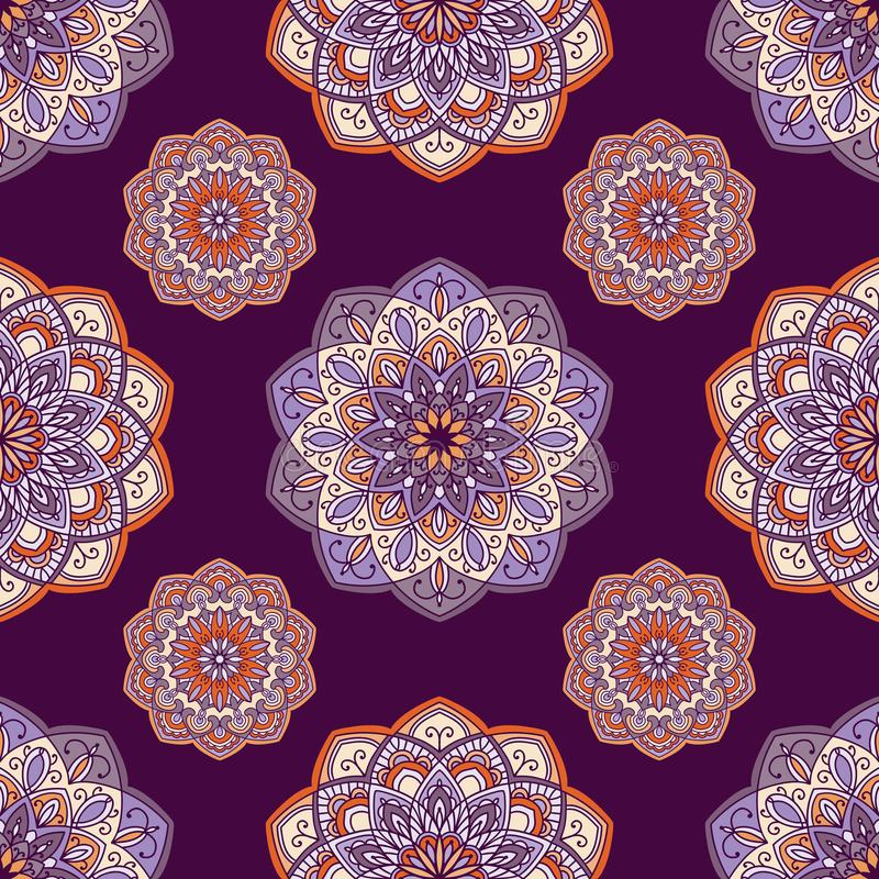 Hand drawn background with decorative elements in purple, violet and orange colors stock illustration