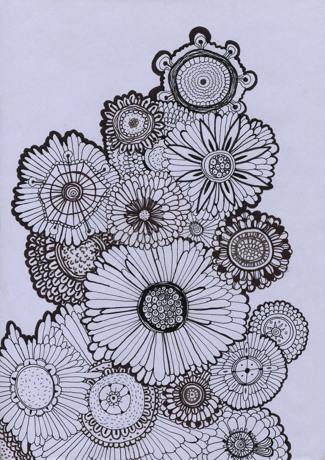 Hand drawn background with decorative flowers royalty free illustration