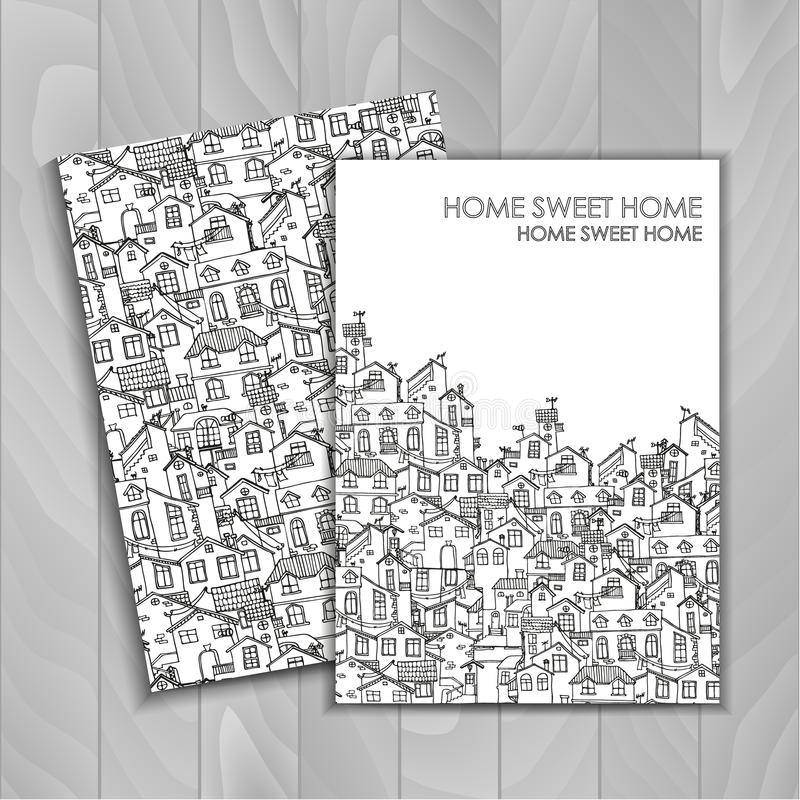 Hand drawn background with doodle houses. royalty free stock images