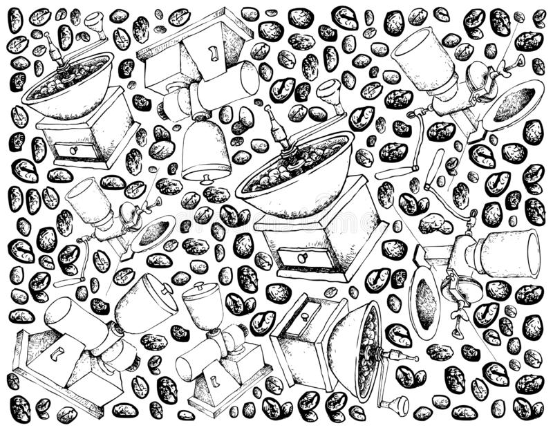 Hand Drawn Background of Electric Coffee Grinder with Coffee Beans stock illustration