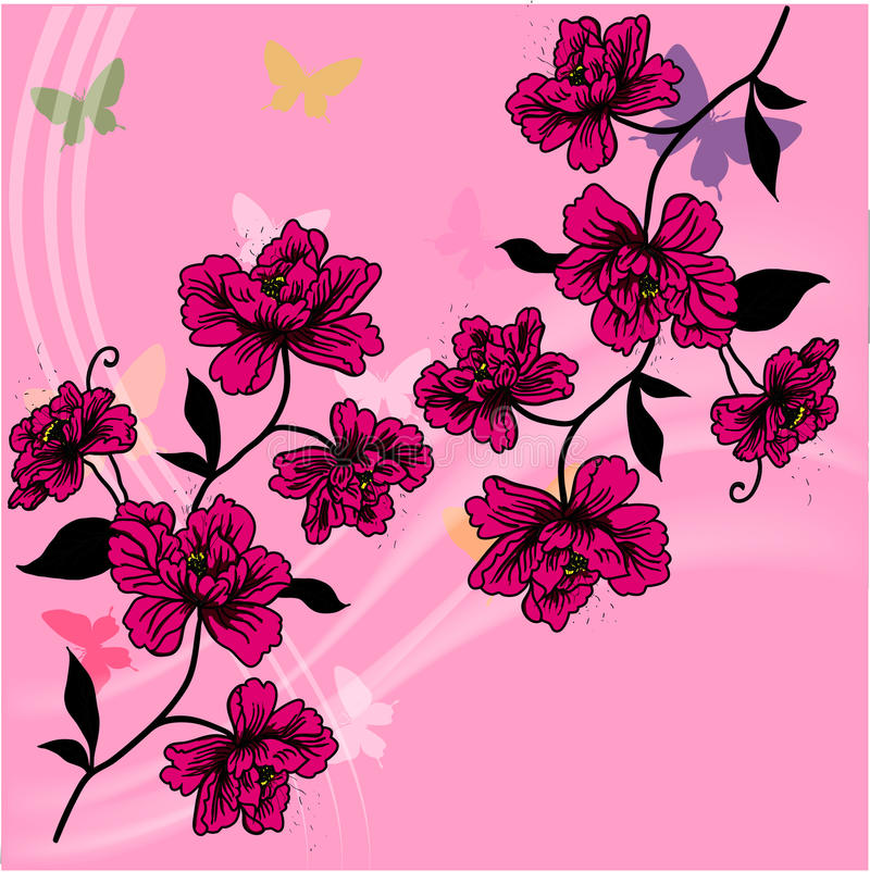 Download Hand Drawn Background With A Fantasy Flower Stock Vector - Image: 17419369
