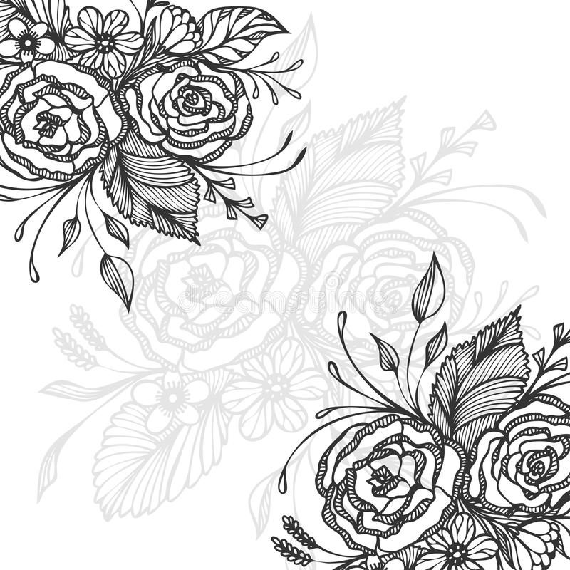 Hand drawn background with flowers bouquet black on white royalty free illustration