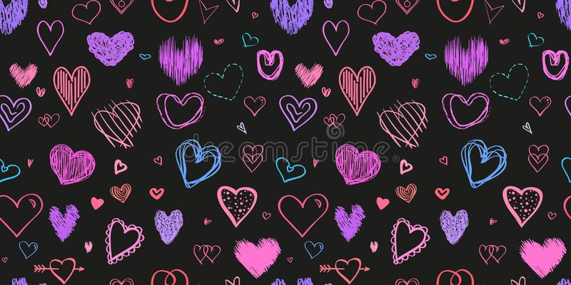 Art creative. Illustration. Hand drawn background with hearts. Seamless grungy wallpaper on surface. Chaotic texture with many love signs. Lovely pattern. Line royalty free illustration