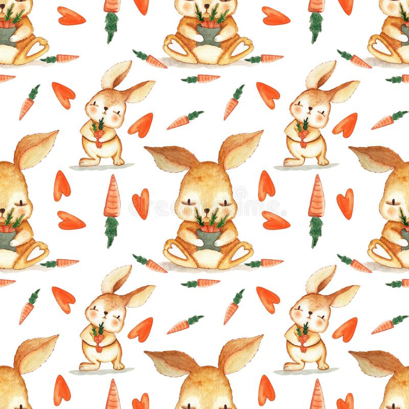 Hand drawn Watercolor Bunny and eggs Easter Seamless Pattern. Background wallpaper for fabric, paper and printing vector illustration