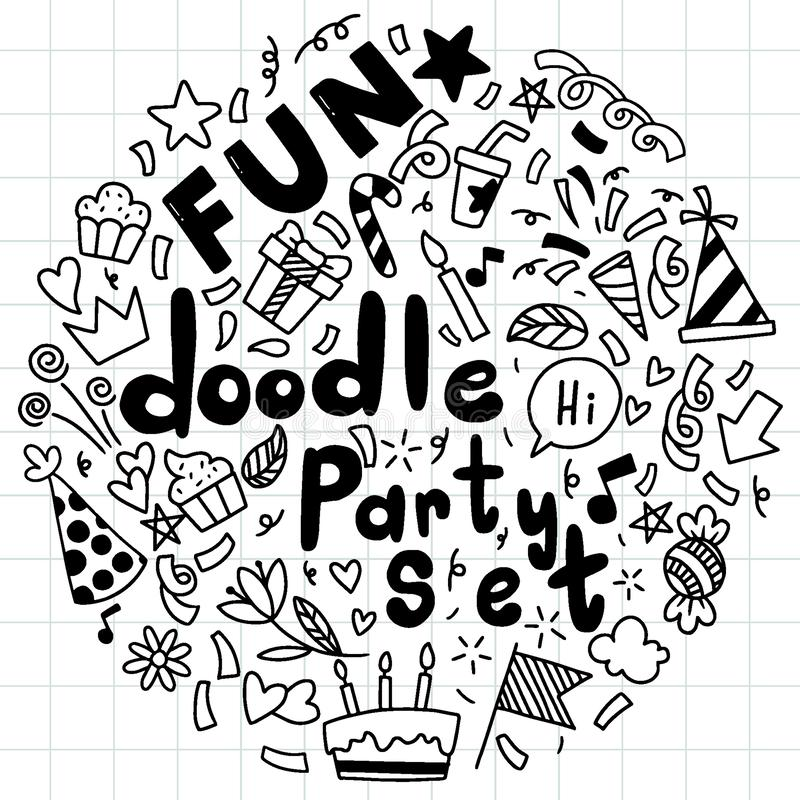 Hand drawn background Set of cute speech bubble eith text in doodle style vector illustration