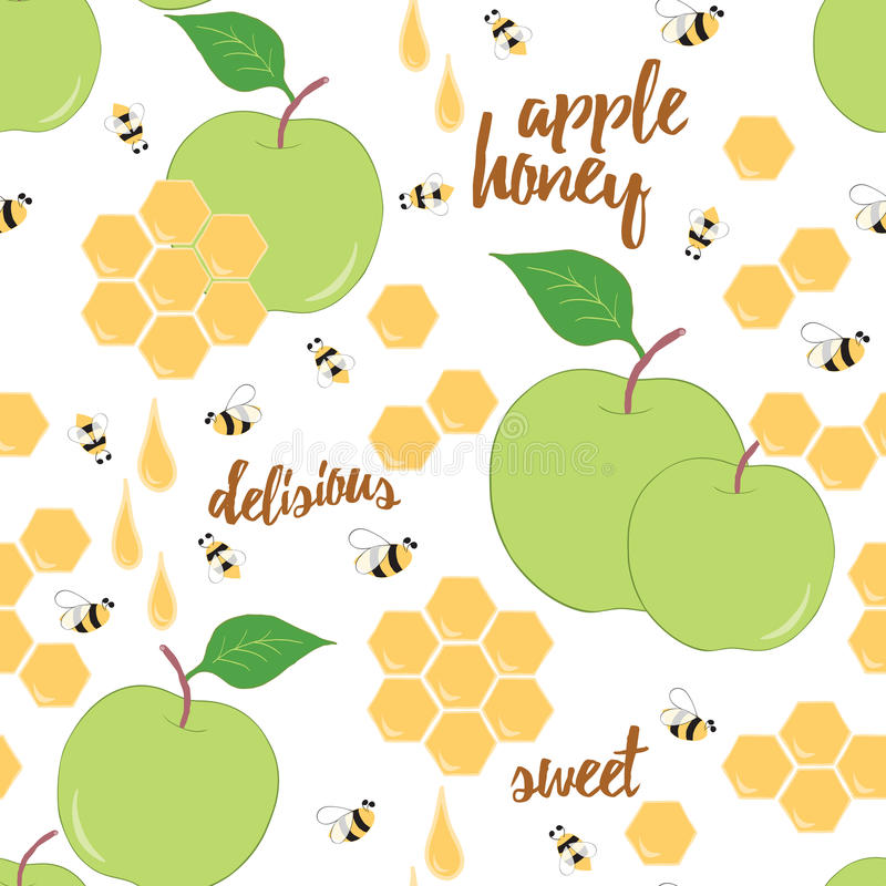 Free Hand Drawn Background With Honeycomb, Honey Drop, Apple And Bee. Royalty Free Stock Photography - 69628217