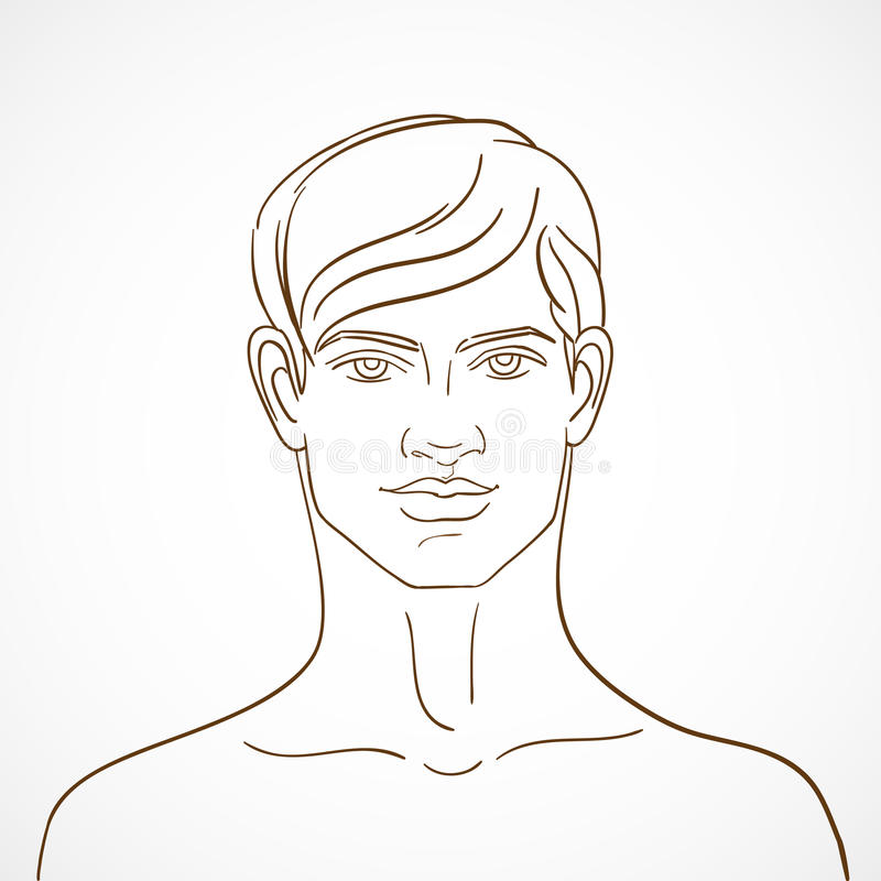 Hand drawn background with young guy in sketch style. Vector ill vector illustration
