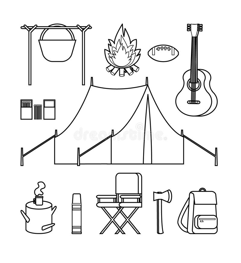 Hand Drawn Backpacking Icons Set vector illustration