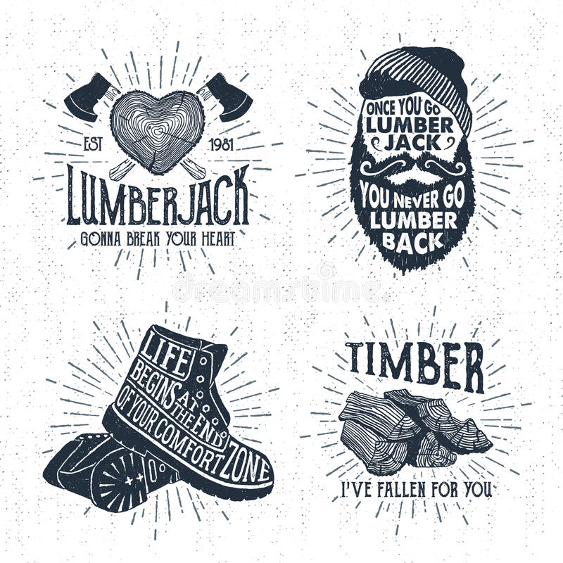 Hand drawn badges set with tree trunk, crossed axes, bearded face, boots, and timber illustrations. Hand drawn vintage badges set with textured tree trunk royalty free illustration