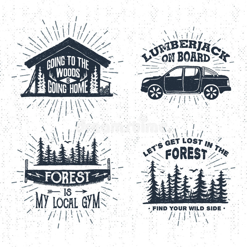 Hand drawn badges set with wooden cabin, pickup truck, saw, and spruce forest illustrations. stock illustration