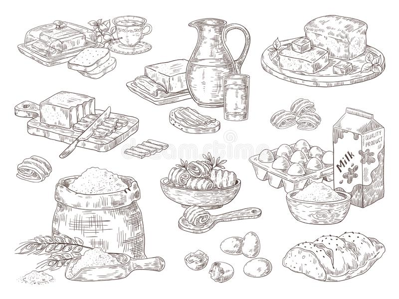 Hand drawn bakery goods. Butter milk eggs and flour culinary ingredients, butter and bread sandwiches. Vector isolated. Hand drawn bakery goods. Butter milk eggs vector illustration