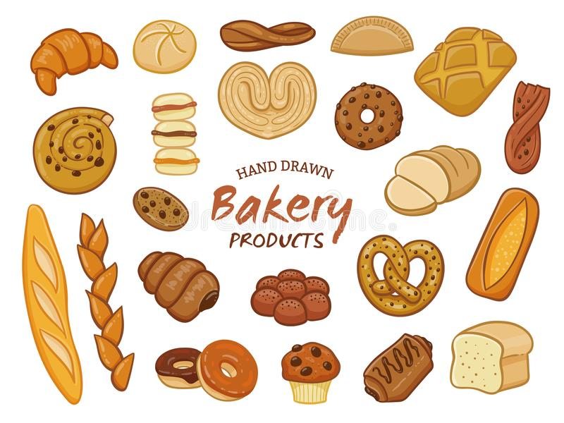 Hand drawn bakery product collection stock illustration